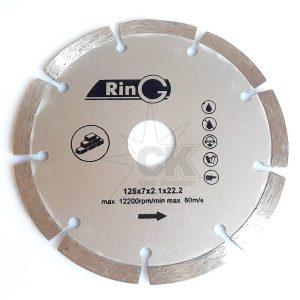 Круг отрезной алмазный сегментный 125х7х2.1х22.2 RinG